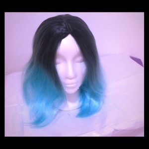 Accessories - Short Straight Wig, Ombre Blue Bob Wig